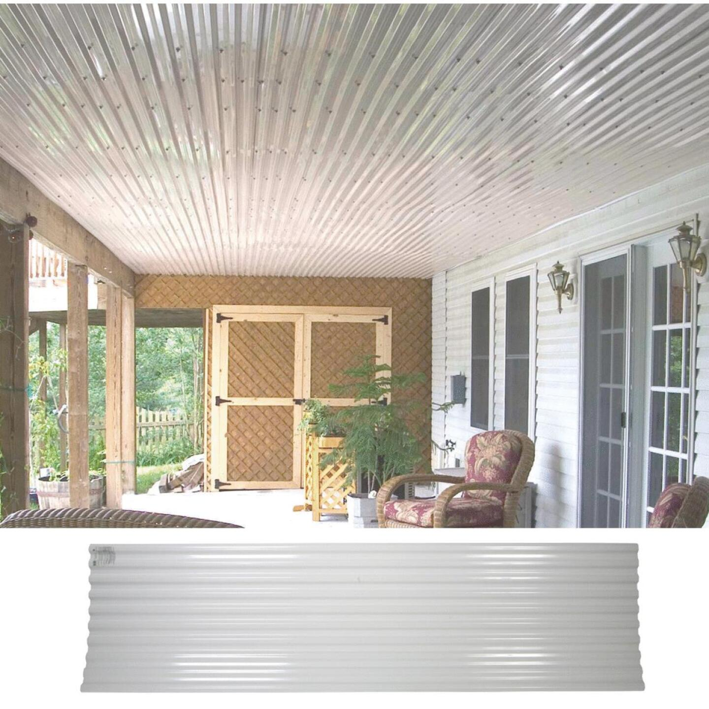 Tuftex UltraVinyl 26 In. x 10 Ft. Opaque White Square Wave Polycarb & Vinyl Corrugated Panels Image 1