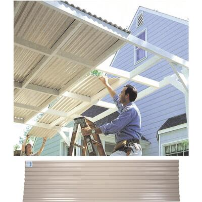 Tuftex UltraVinyl 26 In. x 8 Ft. Opaque Tan Square Wave Polycarb & Vinyl Corrugated Panels