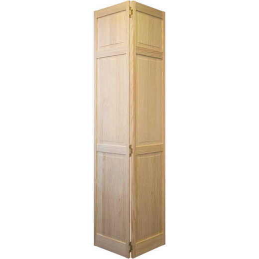 Jeld Wen 24 In. W. x 80 In. H. Pine 3-Panel Natural Color Bifold Door