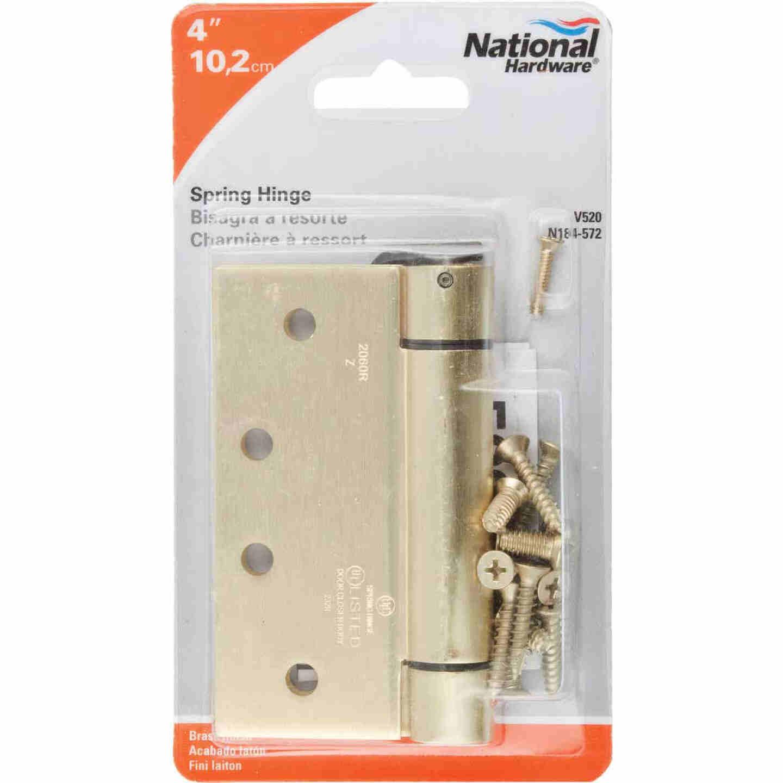 National 4 In. Square Satin Brass Spring Door Hinge Image 2