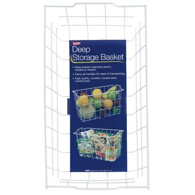 Grayline 8-3/4 In. W. x 9-1/4 In. H. x 16 In. L. Vinyl Coated Wire Deep Storage Basket, White