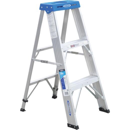 Werner 3 Ft. Aluminum Step Ladder with 250 Lb. Load Capacity Type I Ladder Rating