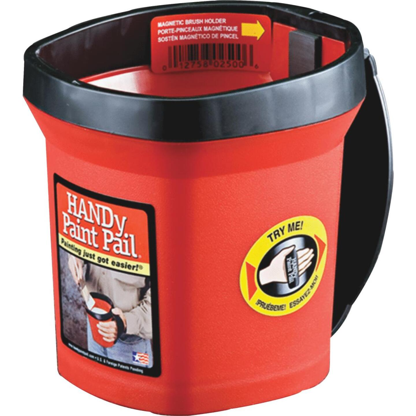 HANDy Paint Pail 1 Qt. Red Painter's Bucket w/Adjustable Strap And Magnetic Brush Holder Image 5