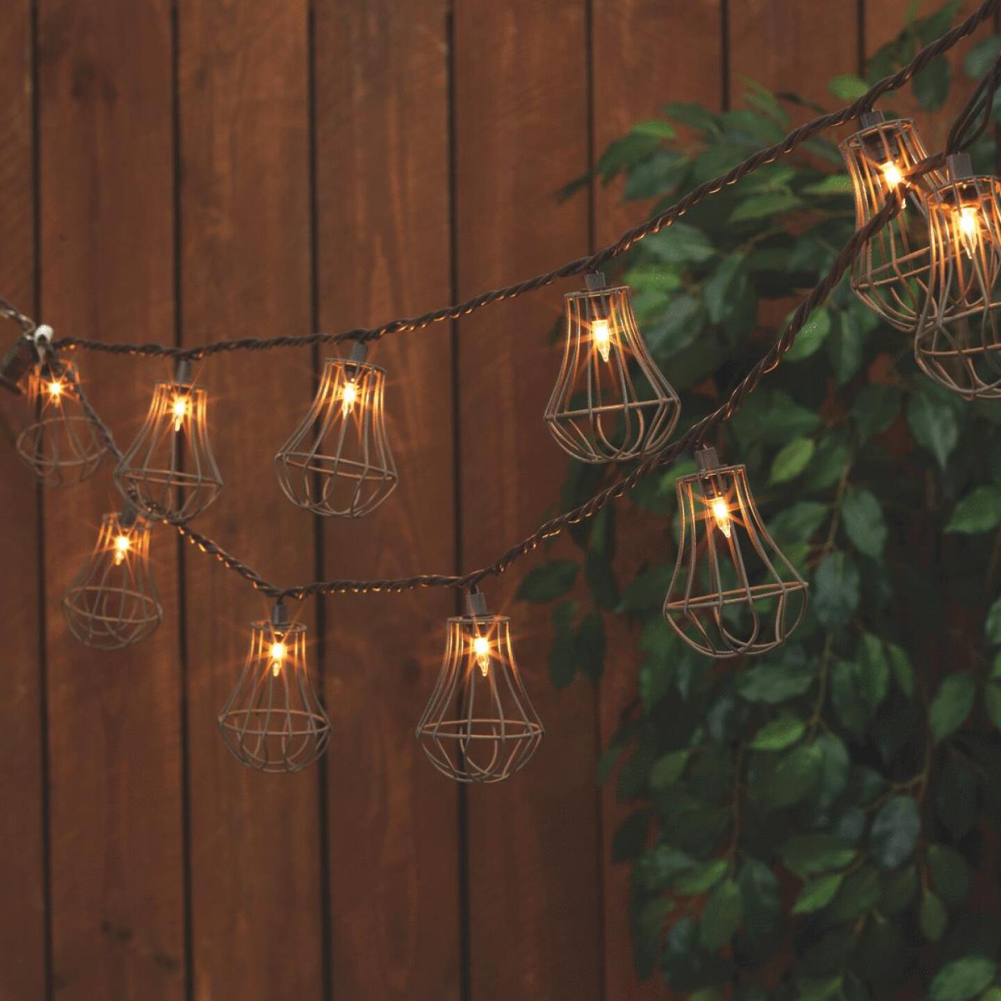 Everlasting Glow 8.5 Ft. 10-Light White Rustic Cage String Lights Image 1