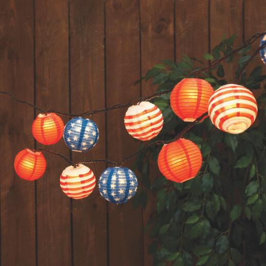 Everlasting Glow 8.5 Ft. 10-Light Multi-Color Patriotic Lantern String Lights